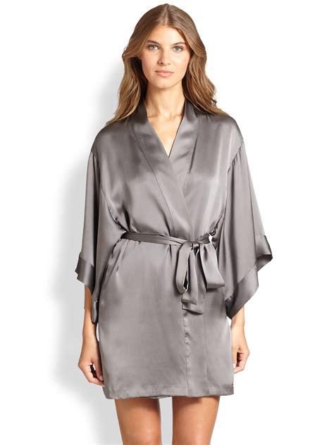 silk robe josie natori silk kimono robe in gray grey metal lyst