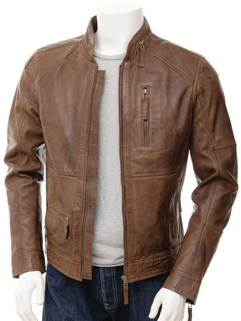 brown leather jacket mens biker leather jacket in brown bellever caine