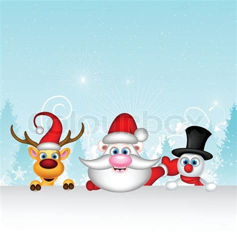 snowman and reindeer vector illustration of santa claus with reindeer and
