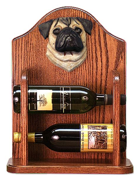 pug wine holder pug wood wine rack bottle holder figure fawn