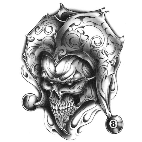 urban tribal tattoos realistic temporary joker skull 8