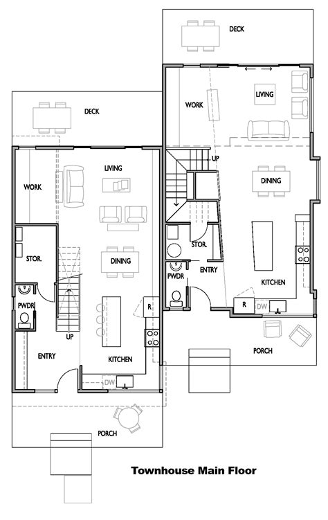 open floor plan townhouse modern townhouse plans modern house