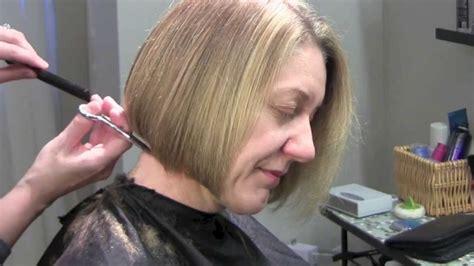 bob haircut chin length youtube