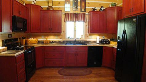 red cherry kitchen cabinets hand crafted solid cherry stained cabin red kitchen