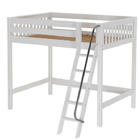 white wood loft bed wooden white slat high loft bed full size