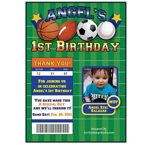 sports themed birthday invitations birthday invitation sports theme landon s first