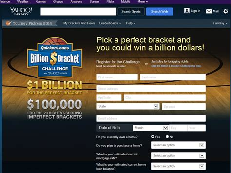 quicken loans billion dollar bracket challenge with yahoo