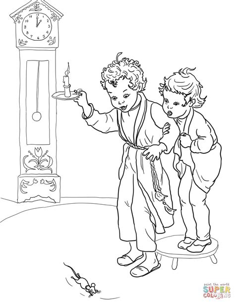hickory dickory dock coloring page free printable