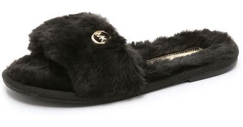 michael kors faux fur slippers michael michael kors jet set faux fur slide slippers