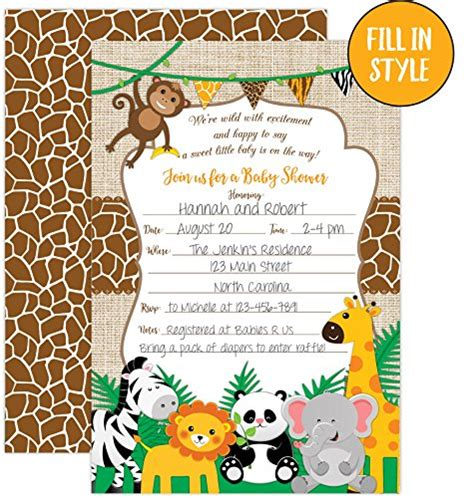 Fill In Baby Shower Invitations by Jungle Safari Baby Shower Invitations Safari Animal