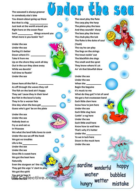 printable lyrics to under the sea a2 adjectives song under the sea the little mermaid