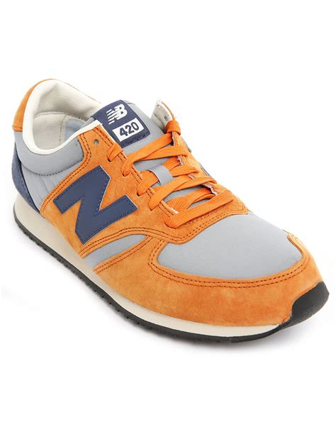 orange and blue sneakers new balance 420 orange and blue suede and mesh sneakers