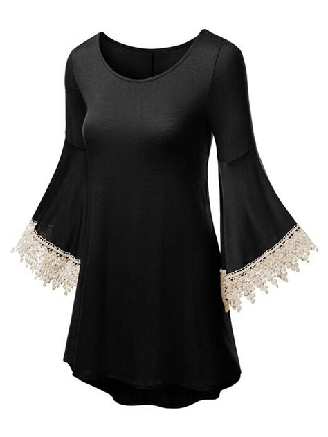 Lace Panel 3 4 Sleeve A Line Dress black lace panel trumpet sleeve a line dress choies