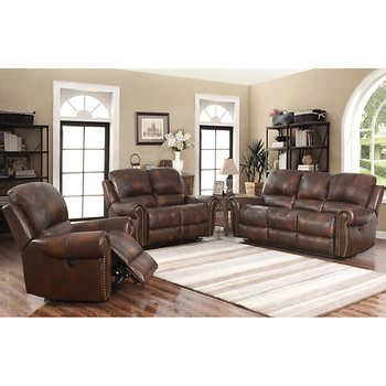 costco living room sets westmont 3 piece top grain leather power reclining living