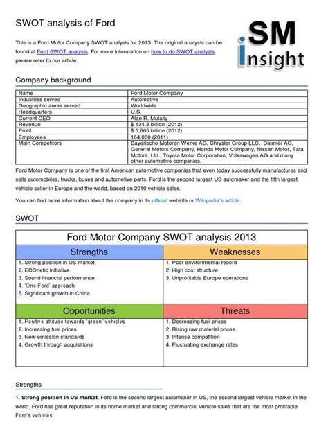 Gm Insights Mba by General Motors Swot Analysis Impremedia Net