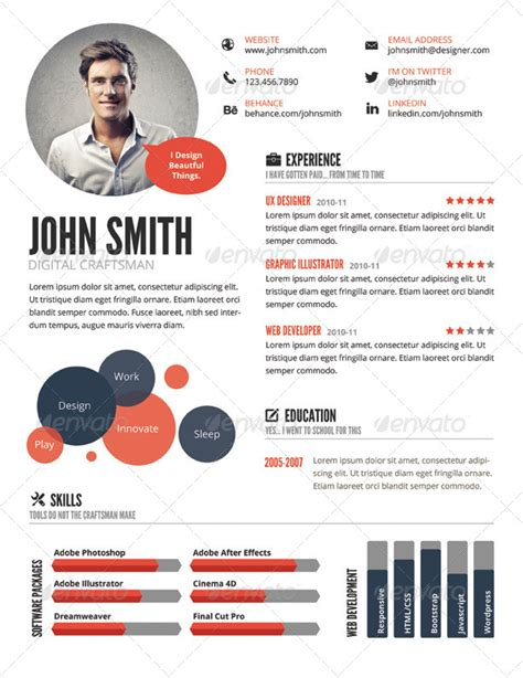 infographic resume horizontal composition inspiring