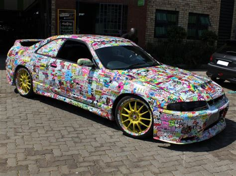 Auto Sticker Bomb by Nissan Skyline R33 Total Car Wrapping Sticker Bomb
