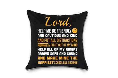 school bus driver prayer throw pillow   school