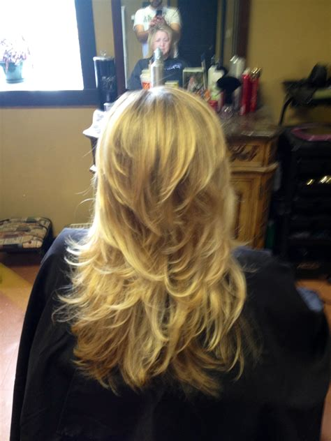 full layers hair cut long hair short layer cut and blow out beautiful