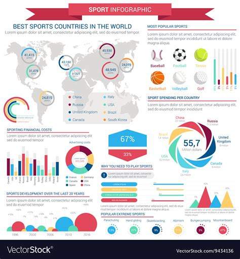 sports infographics templates sports infographic template with charts and map vector image