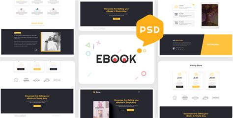 Ebooks One Page Psd Template By Theme Rocket Themeforest Ebook Template Photoshop