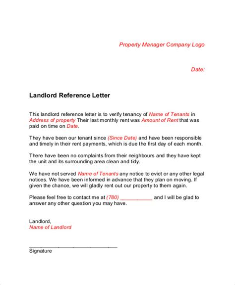 Landlord Reference Letter Dublin Letters In Pdf