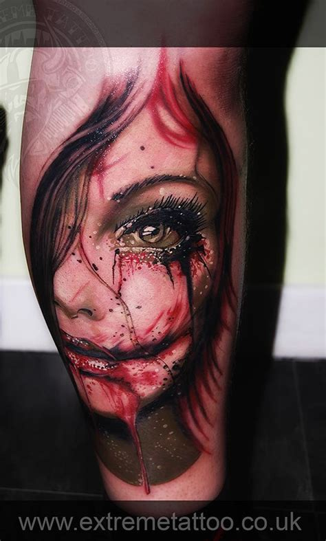 new school realism tattoo zombie portrait tattoo gabi tomescu extreme tattoo