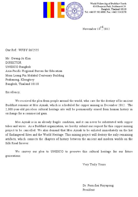 disagreement letter buddhist networks sent the letter of disagreement to un