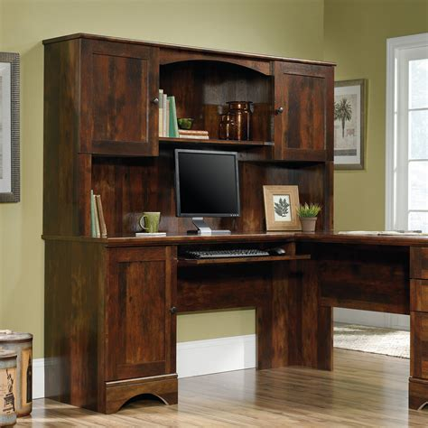 Cherry Home Office Furniture L Shaped Desk W Hutch Home Office Furniture Computer Desks Wood Harvest Cherry Ebay