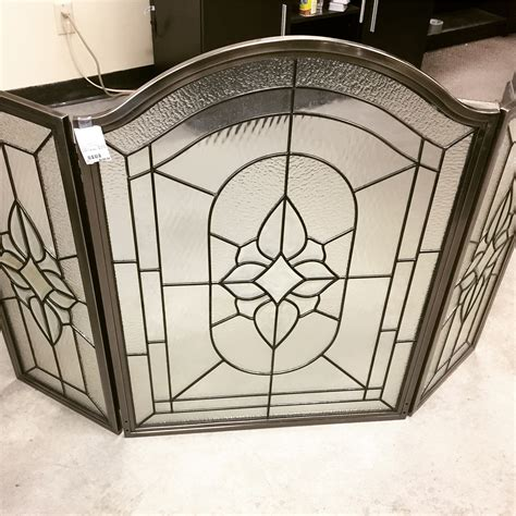 pewter fireplace screens 3 pc pewter finished leaded glass fireplace screen sold