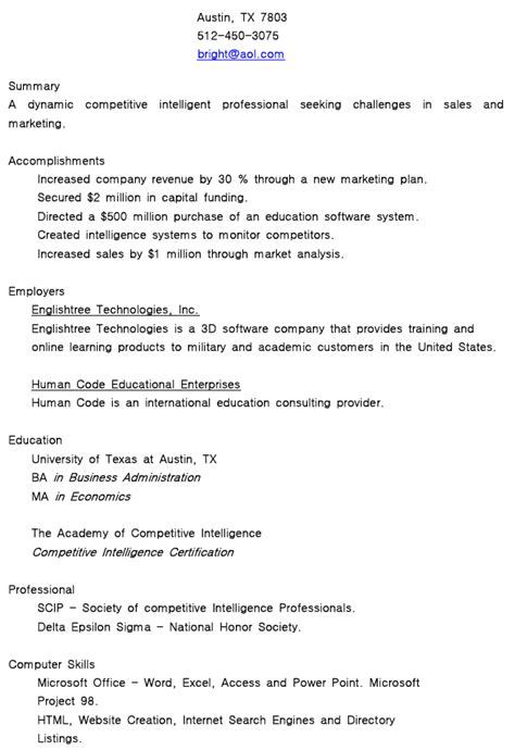 business english resume for job success global