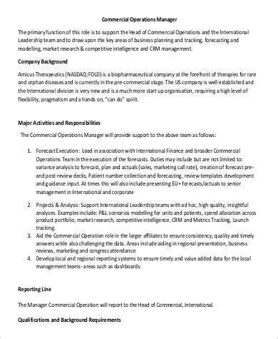 commercial manager description commercial manager description sle 9 exles in
