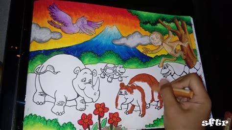 mewarnai pemandangan  crayon   color