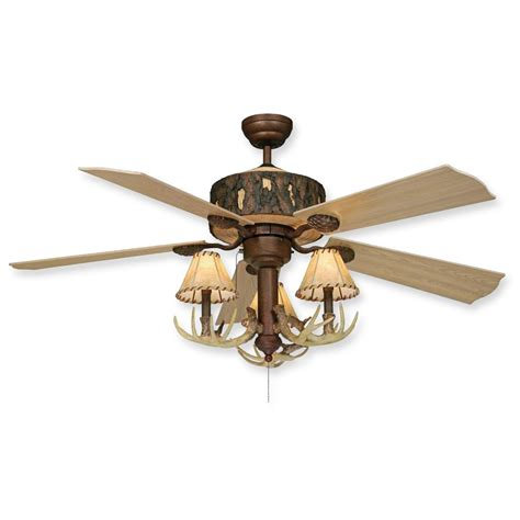 log cabin rustic ceiling fan w antler light kit