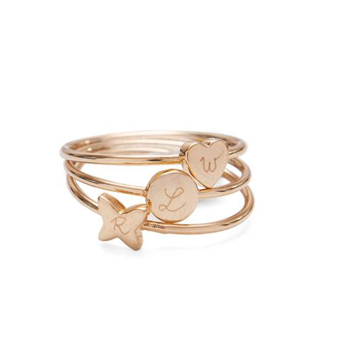 s personalised gold plated initial ring by merci