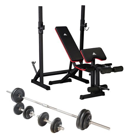 weight bench and weights set adidas essential weight bench and viavito 50kg cast iron