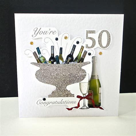 Celebration Bottles 50th Birthday Card   Decorque Cards