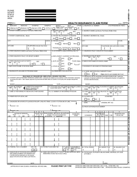 health insurance claim form cms1500 hosa