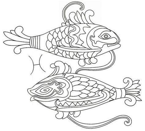 pisces zodiac embroidery coloring page zodiac pisces