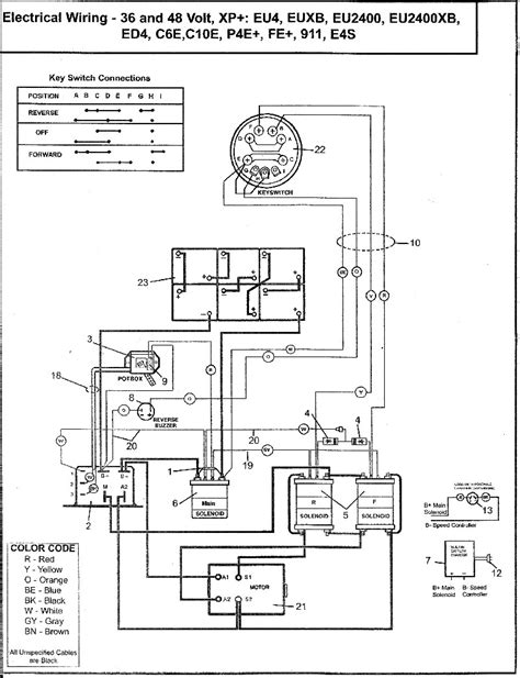 parcar wiring diagram 36 48 volts columbia electric