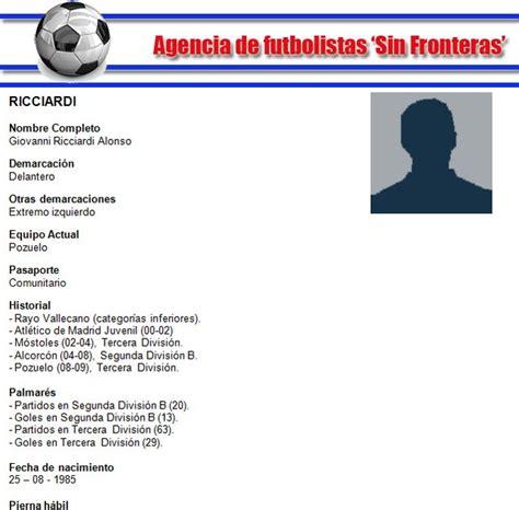 Modelo De Curriculum De Jugador De Futbol como hacer un curriculum vitae como hacer un curriculum de jugador de futbol