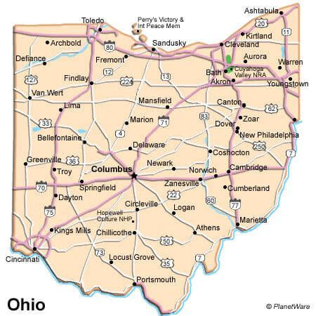 Ohio Map Usa by Cities Map Of Ohio Us