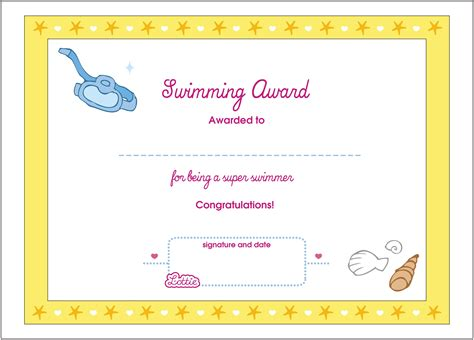 swimming award certificate template swimming printable award certificate lottie dolls