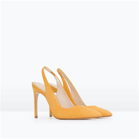 zara slingback high heel leather shoes in yellow lyst