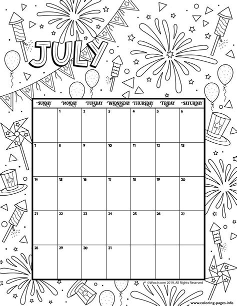 july  coloring calendar coloring pages printable