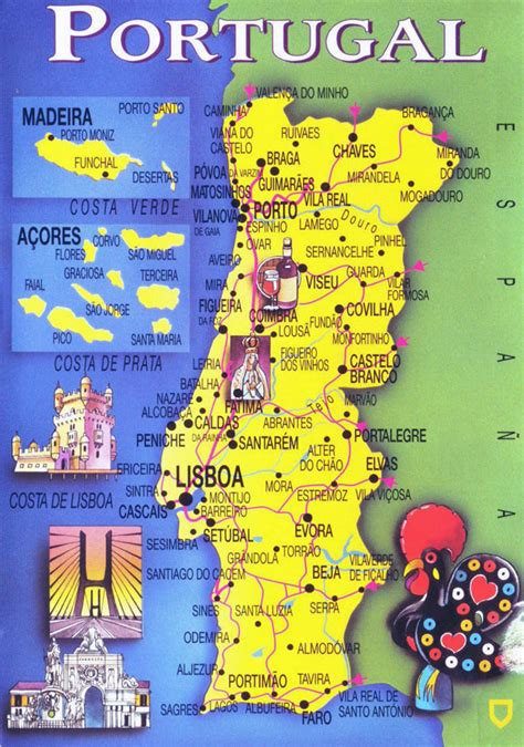 large tourist map  portugal portugal large tourist map