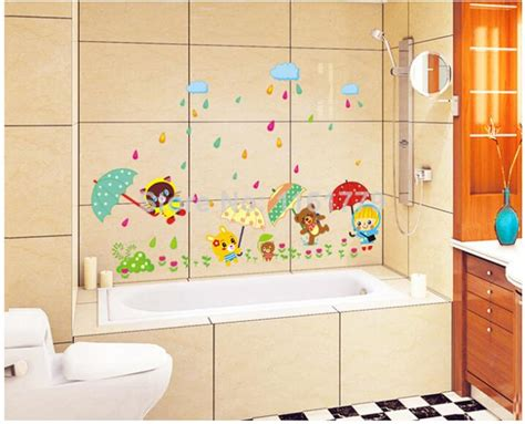 wallpaper for kids bathroom animal bear rain umbrella waterproof wallpaper for