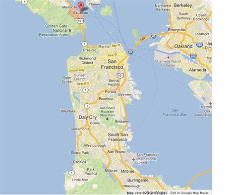 sausalito map sausalito on map of san francisco bay