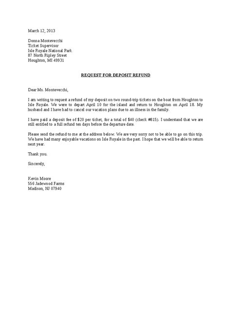 Customer Deposit Letter Request For Deposit Refund Letter Hashdoc