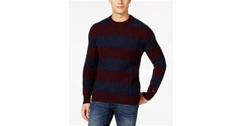 Sweater Black Miky hilfiger big and mikey cable knit rugby stripe